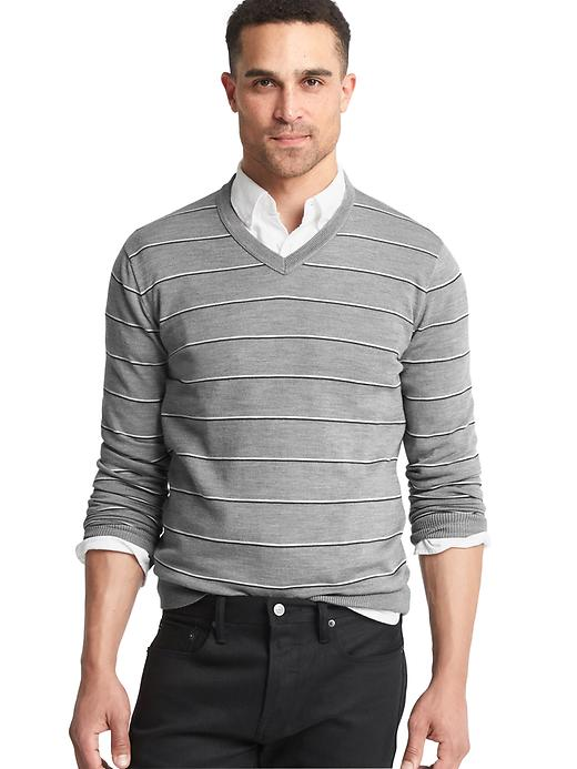 Gap Men Merino Wool Stripe Slim Fit Sweater Size L - White & grey
