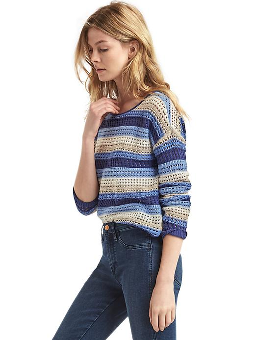Gap Women Stripe Crochet Sweater Size L - Blue stripe
