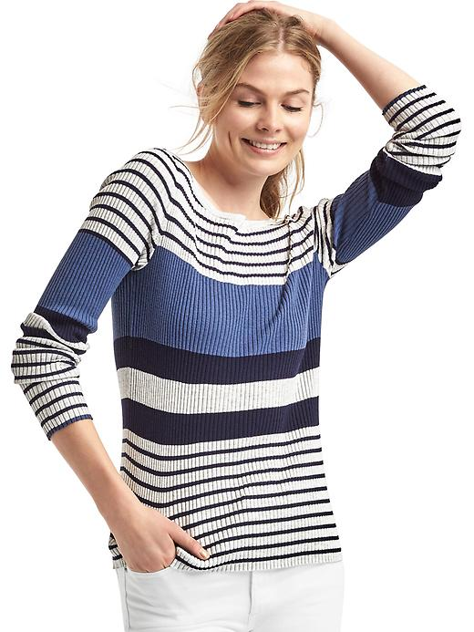 Gap Women Stripe Colorblock Ribbed Sweater Size L - Dark night