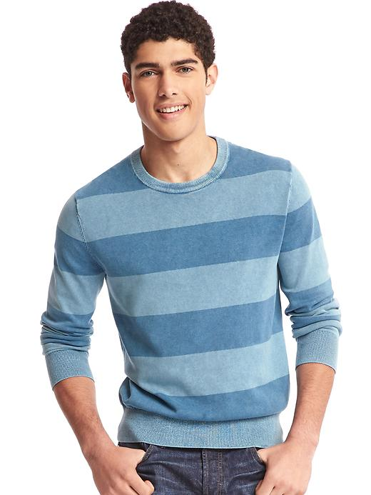 Gap Men Rugby Stripe Crewneck Sweater Size L - New zephyr blue