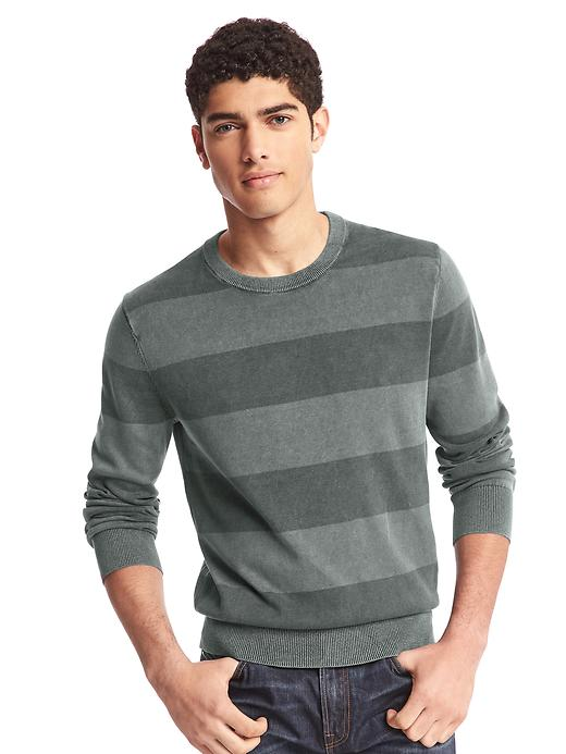 Gap Men Rugby Stripe Crewneck Sweater Size L - Moonless night