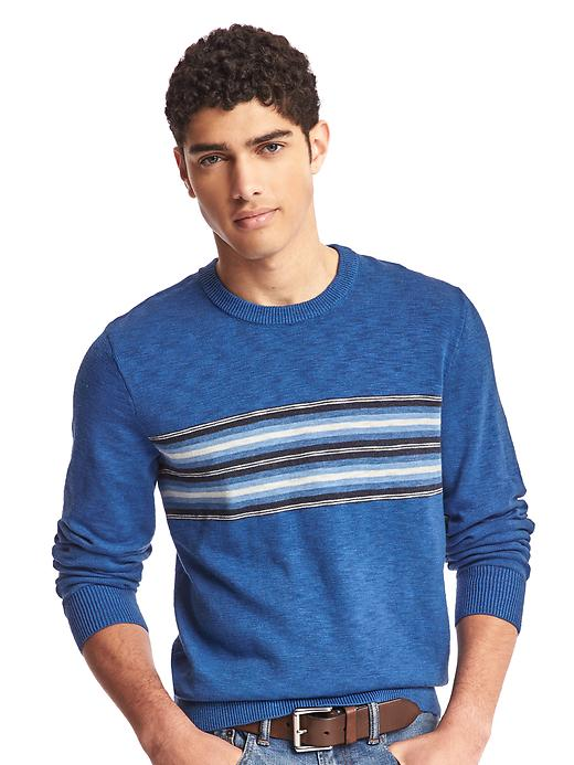 Gap Men Southwestern Chest Stripe Crew Sweater Size L - Blue stripe