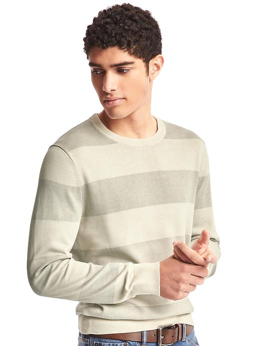 Gap Men Rugby Stripe Crewneck Sweater Size L Tall - Fresh praline