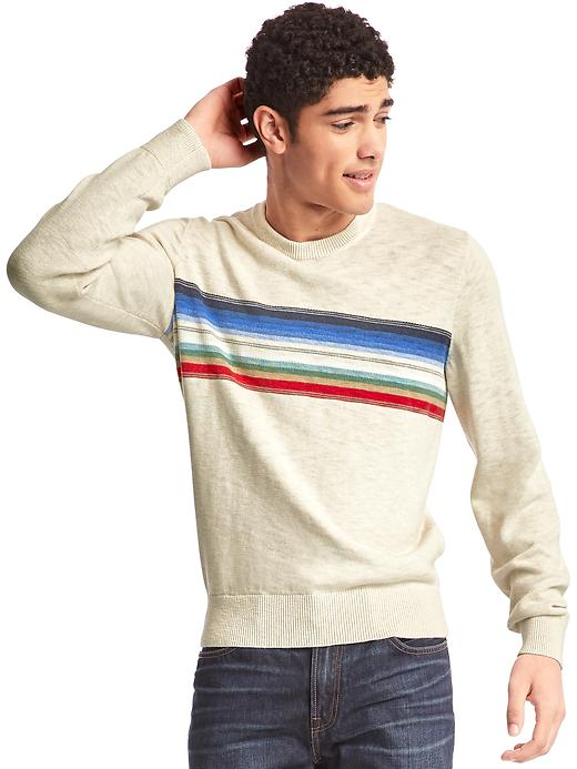 Gap Men Southwestern Chest Stripe Crew Sweater Size L Tall - Cream