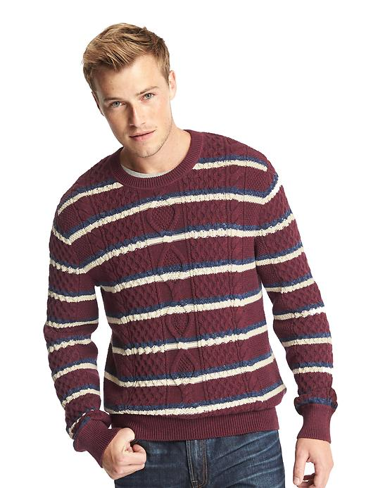 Gap Men Cable Knit Stripe Crew Sweater Size L - Red wine