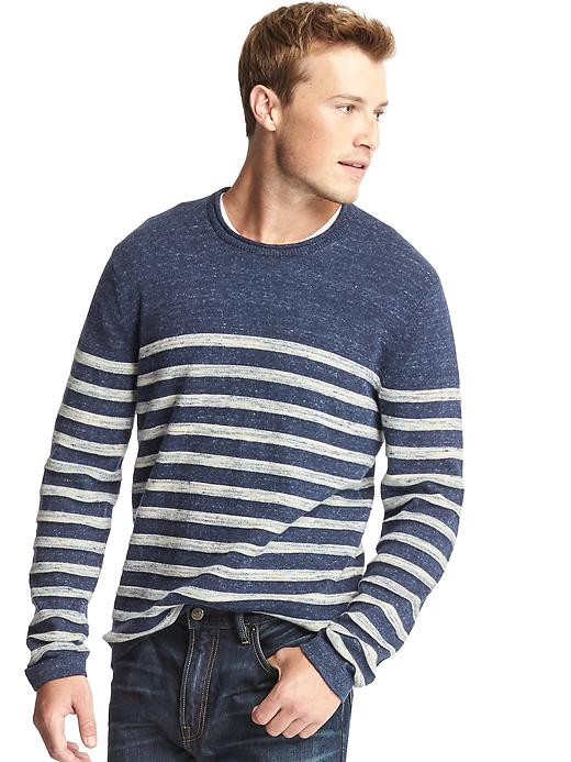 Gap Men Heathered Stripe Roll Neck Sweater Size L - Navy/white stripe