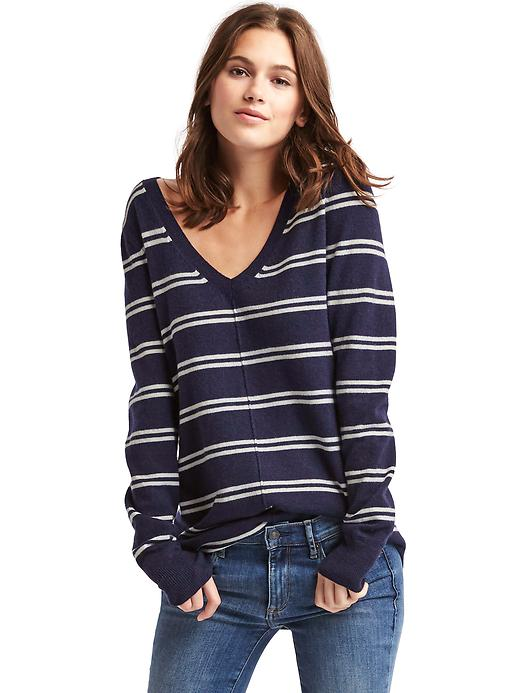 Gap Women Stripe Deep V Neck Sweater Size XXL - White stripe