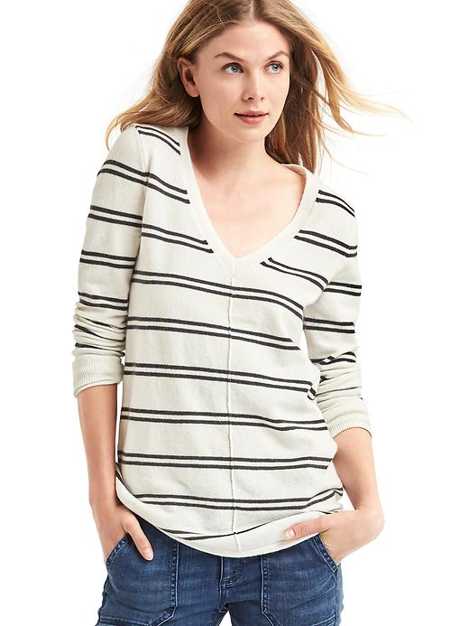 Gap Womens Stripe Deep V-Neck Sweater Navy Stripe Size XL