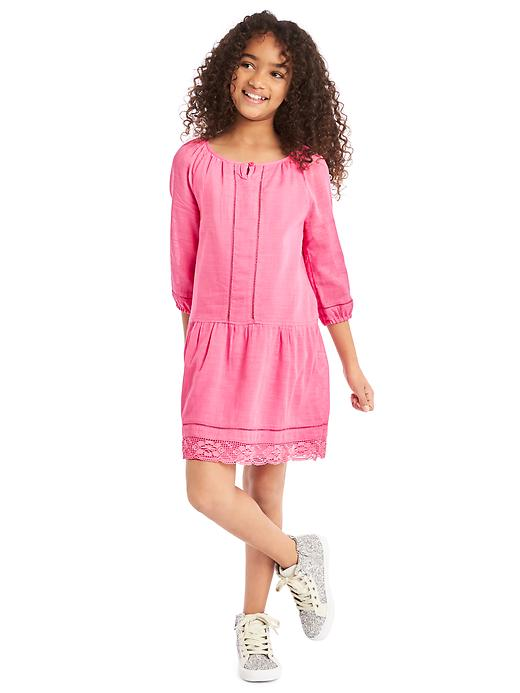 Gap Girls Lace Trim Long Sleeve Dress Size M Plus - Neon light pink