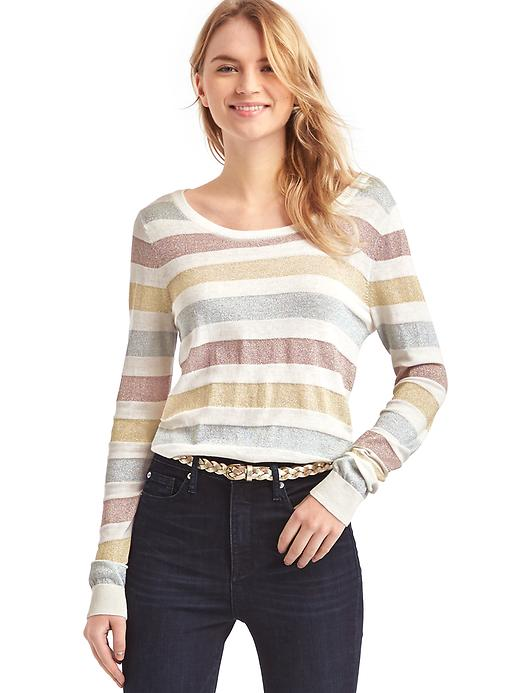 Gap Women Metallic Stripe Sweater Size S - Snow cap