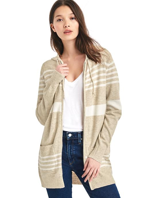 Gap Women Stripe Hooded Cocoon Sweater Size L - Oatmeal stripe
