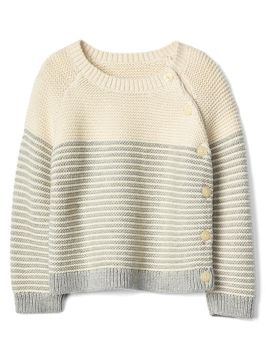 Gap Stripe Garter Button Sweater Size 0-3 M - Gray