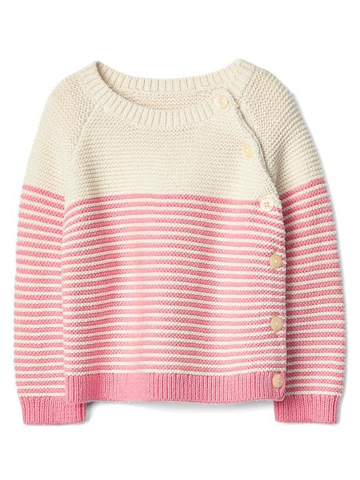 Gap Stripe Garter Button Sweater Size 0-3 M - Pink stripe