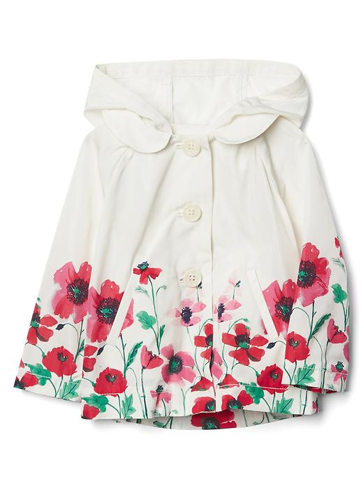 Gap Floral Border Raincoat Size 0-6 M - Ivory frost