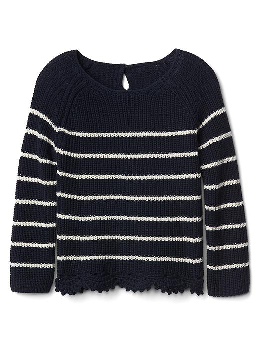 Gap Stripe Lace Trim Keyhole Sweater Size 12-18 M - Blue galaxy