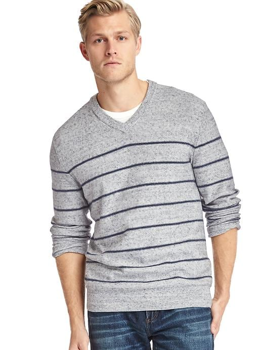 Gap Men Stripe V Neck Sweater Size L - Grey/navy