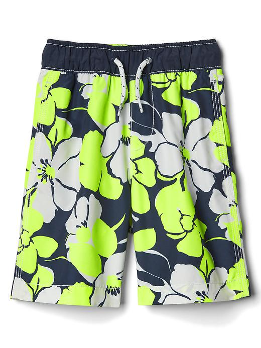 Gap Boys Neon Hibiscus Swim Trunks Size L - Navy hibiscus