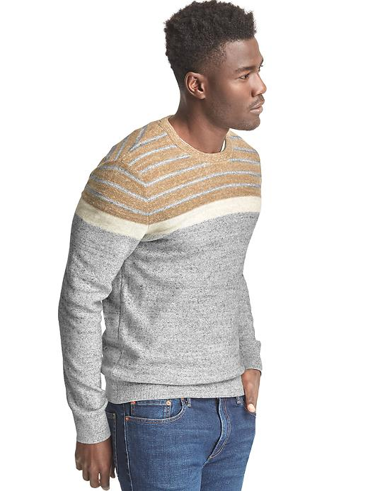 Gap Mens Colorblock Stripe Crewneck Sweater Grey Camel Size L