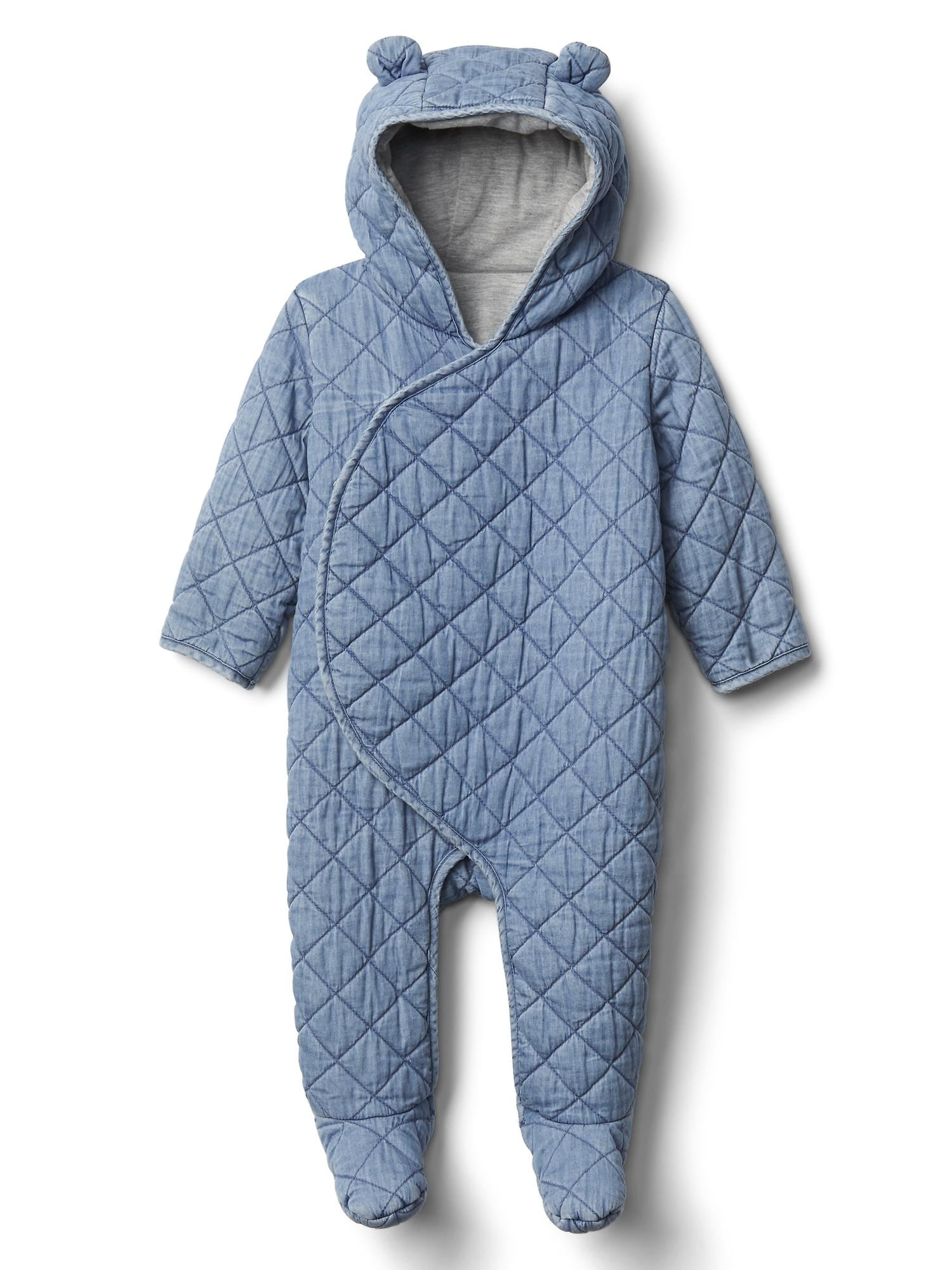 9f05b7a75 Quilted chambray bear one-piece