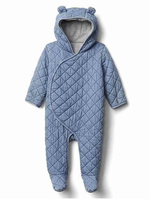 Baby Quilted Chambray Bear One-Piece