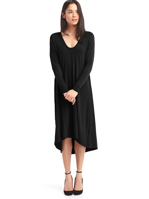 Gap Womens Long Sleeve Swing Dress (Black or Black/Stripe)