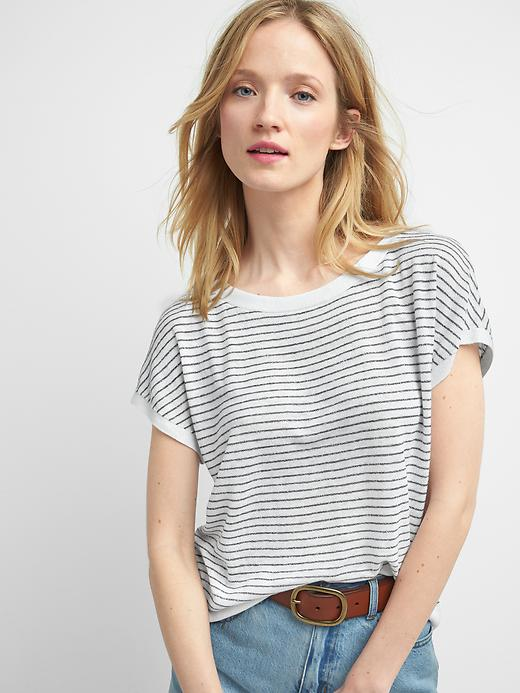 Gap Women Stripe Boatneck Sweater Tee Size L - White stripe