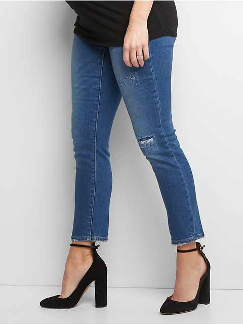 Maternity full panel frayed best girlfriend jeans