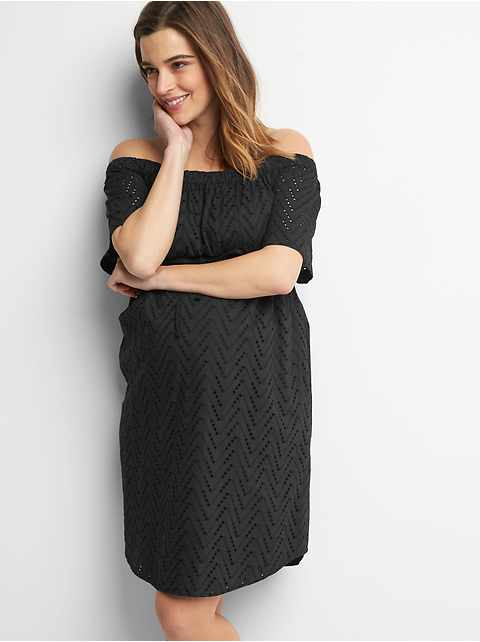 Maternity zigzag off shoulder dress