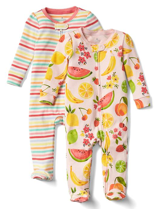 Gap Fruity Footed Zip One Piece 2 Pack Size 0-3 M - Pink cameo
