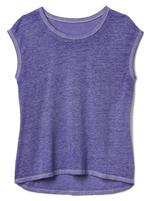 Gap Women Burnout Jersey Cap Sleeve Tee Size L - Purple heather