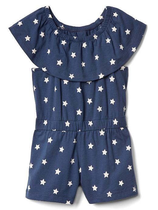 Gap Ruffle Sleeve Romper Size 12-18 M - Blue star
