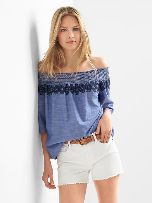 Smocked off-shoulder embroidery top