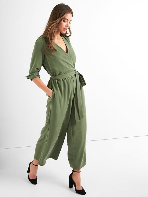 Gap Women Tie Belt Culotte Jumpsuit Size L Tall - Monterey cypress