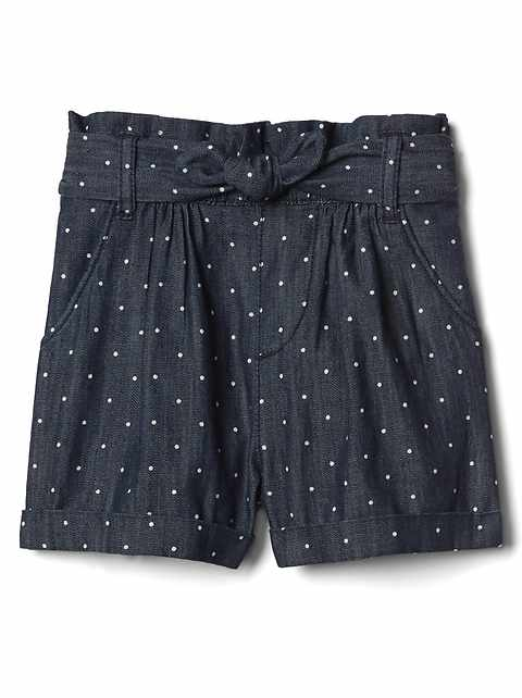 Polka dot denim shorts
