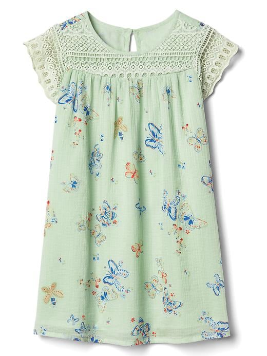 Gap Butterfly Lace Yoke Dress Size 12-18 M - Green butterfly
