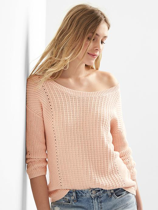Gap Women Pointelle Boatneck Sweater Size L - Tutu pink