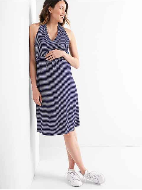 Maternity Sleeveless Crossover Dress