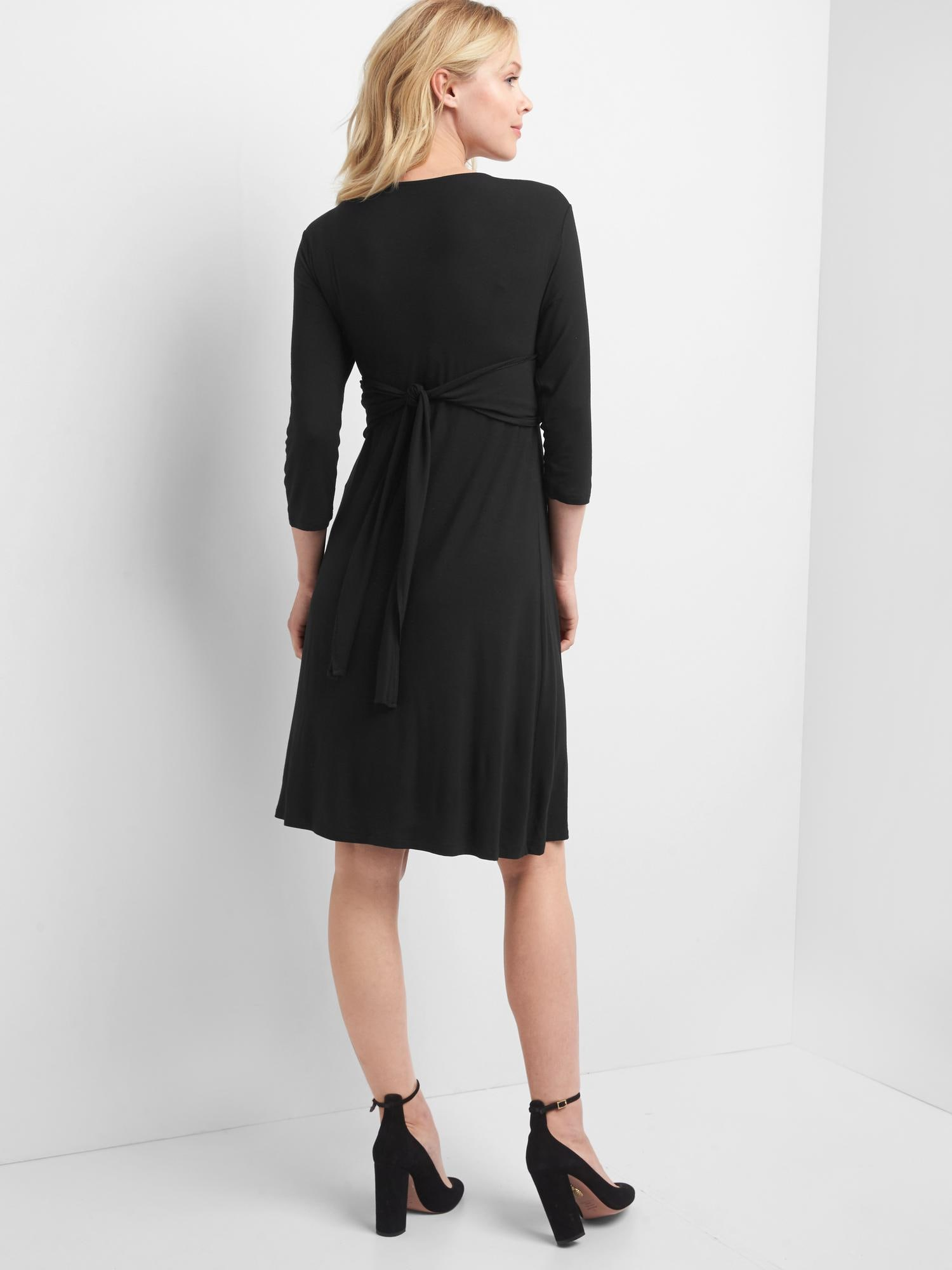 Maternity solid three-quarter sleeve wrap dress|gap