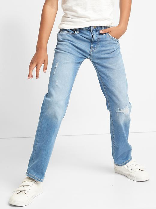 Gap Boys Stretch Destructed Straight Jeans (Dark Wash)