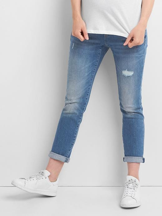 Maternity Full Panel Distressed Best Girlfriend Jeans