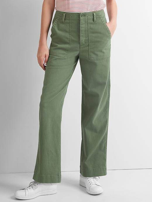 Gap Women High Rise Boyfriend Utility Chinos Size 0 Regular - Monterey cypress