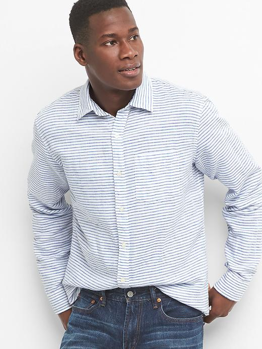 Gap Mens Linen-Cotton Stripe Standard Fit Shirt