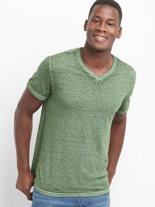 Gap Men Burnout V Neck Tee Size M - Desert cactus
