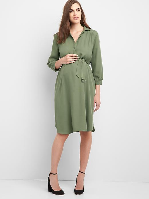 Gap Women Maternity Three Quarter Tie Belt Shirtdress Size L - Desert cactus