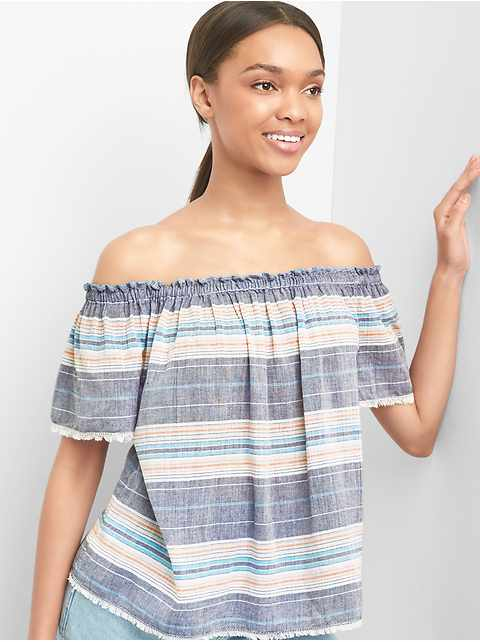 Stripe off-shoulder top
