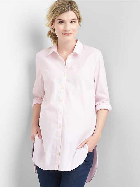 Maternity Tailored Oxford Tunic Shirt