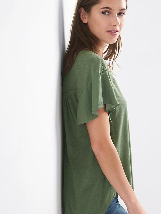 Gap Women Flutter Sleeve Tee Size L Tall - Cool olive