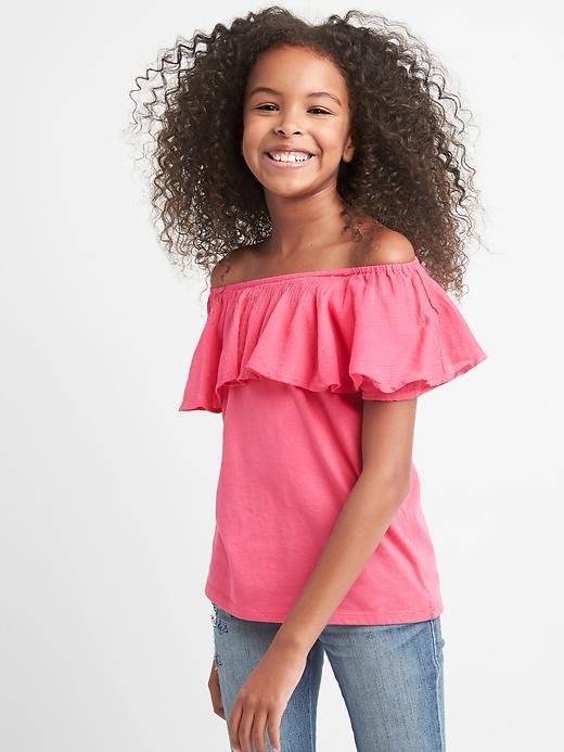 Gap Girls Mix Fabric Off Should Top Size L - Romantic