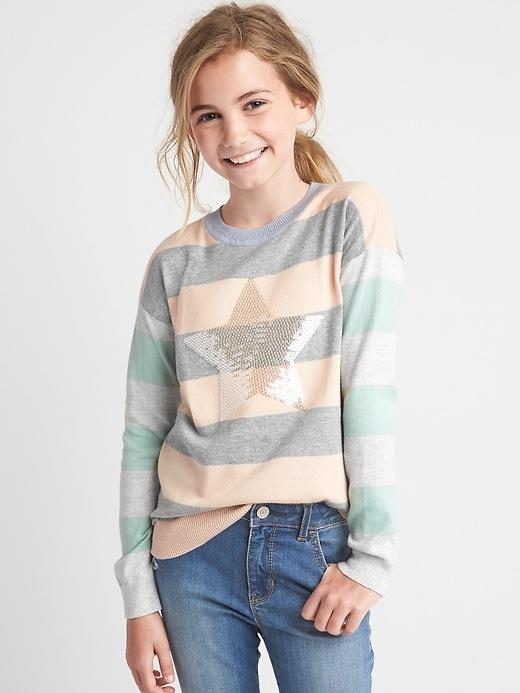 Gap Girls Sequin Mix Stripe Sweater Size L - Grey heather stripe