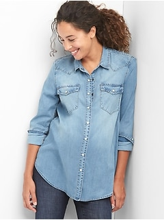 Maternity TENCEL&#153 denim western shirt